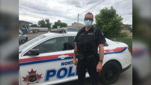 Const. Matt Parker of the North Bay Police Service has been instrumental in supporting the less fortunate in the city through his work of getting food to the homeless along with partners at Rebuilt Resources. June 11/21 (Eric Taschner/CTV News Northern Ontario)