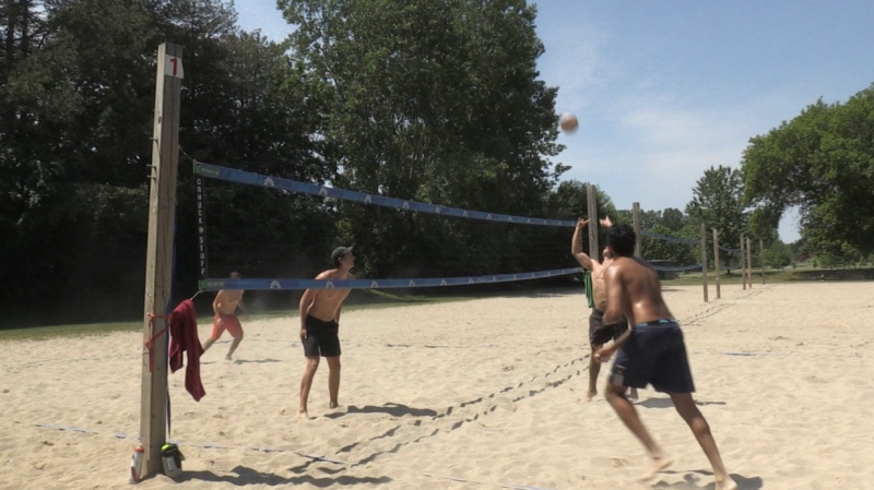 People playing volleyball at north London athletic fields in London, Ont. on Saturday, June 12, 2021. (Jordyn Read/CTV London)