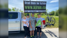 Virginia Johnson (left), Brad Johnson and Laurie Johnson near Cobden, Ont. Saturday as Brad runs in memory of his sister and in support of Elevate Youth Wellness Centre in Pembroke. (Dylan Dyson/CTV News Ottawa)