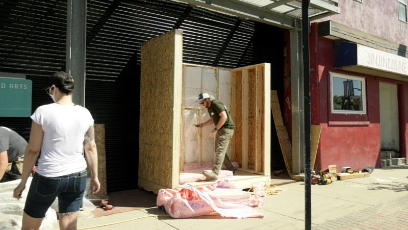 Construction of a community fridge in Riversdale began on Saturday and aims to address issues of food insecurity and poverty in Saskatoon. (Tyler Barrow/CTV News)