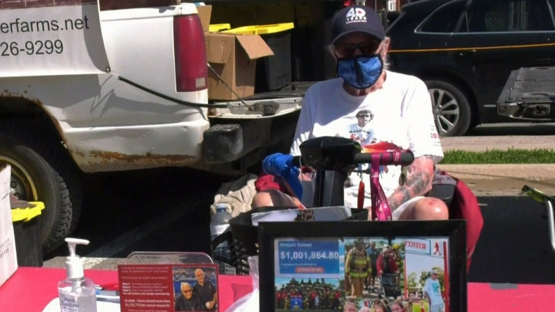 Beloved Barrie resident Will Dwyer has resumed his annual fundraising for the Terry Fox Foundation on June 12, 2021 (Chris Garry/CTV News Barrie)