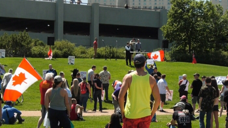 Anti-restriction rally at the Forks