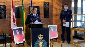 Assistant RCMP Commissioner Rhonda Blackmore speaks to the media at F Division - Saskatchewan RCMP Headquarters, on June 12, 2021. (Gareth Dillistone/CTV News)