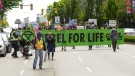 Climate activist group Extinction Rebellion held a sit-in at a busy Vancouver intersection on Saturday afternoon in protest of old-growth logging on Vancouver Island. (CTV)