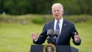 """In this June 10, 2021, file photo, President Joe Biden speaks ahead of the G7 summit in St. Ives, England. Biden and his NATO counterparts bid a symbolic farewell to Afghanistan on Monday, June 14, in their last summit before America winds up its longest """"forever war"""" and the military pulls out for good. (AP Photo/Patrick Semansky, File)"""