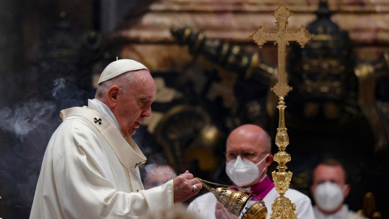 Pope Francis celebrates Mass on the Solemnity of the Most Holy Body and Blood of Christ, in St. Peter's Basilica at the Vatican, Sunday, June 6, 2021. (Giuseppe Lami/Pool via AP)
