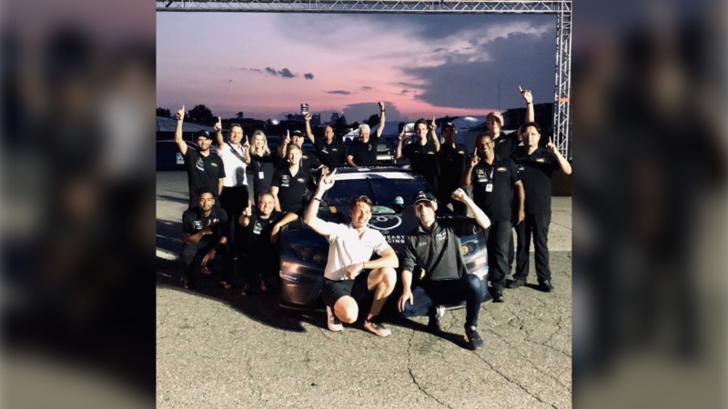 Roman De Angelis, Ross Gunn and team at the Detroit Grand Prix in Detroit, Mich. on Saturday, June 12, 2021. (courtesy PDM Group Motorsports Marketing)