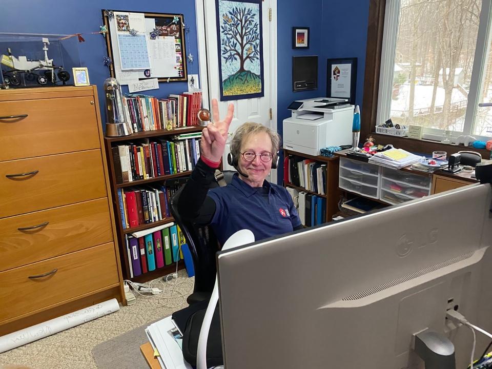 Pamela Gales Conrad at her desk