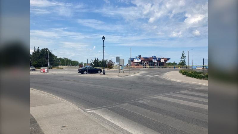 OPP are on the scene of what they are calling a death investigation at Beach 1 in Wasaga Beach on Sunday June 13, 2021 (Katelyn Wilson/CTV News Barrie)