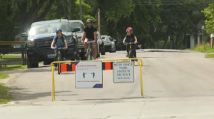 Cyclists going down Wellington Crescent seen on June 10