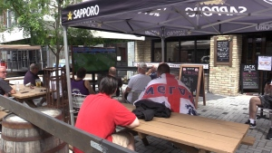 England Supporters cheer on their team at The Scots Corner in London, Ont. Sunday June 13, 2021. (Brent Lale/CTV London)