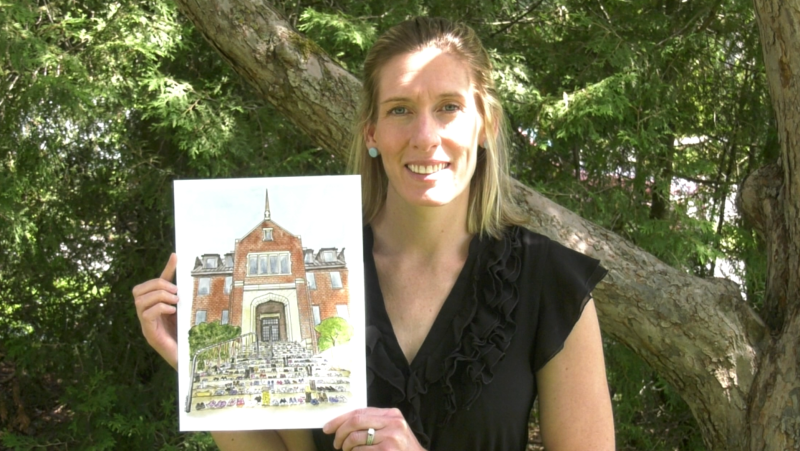 Amy Williams says her art project began with a suggestion from her friends that she do a portrait of the residential school memorial at Algoma University. June 13/21 (Mike McDonald/CTV News Northern Ontario)