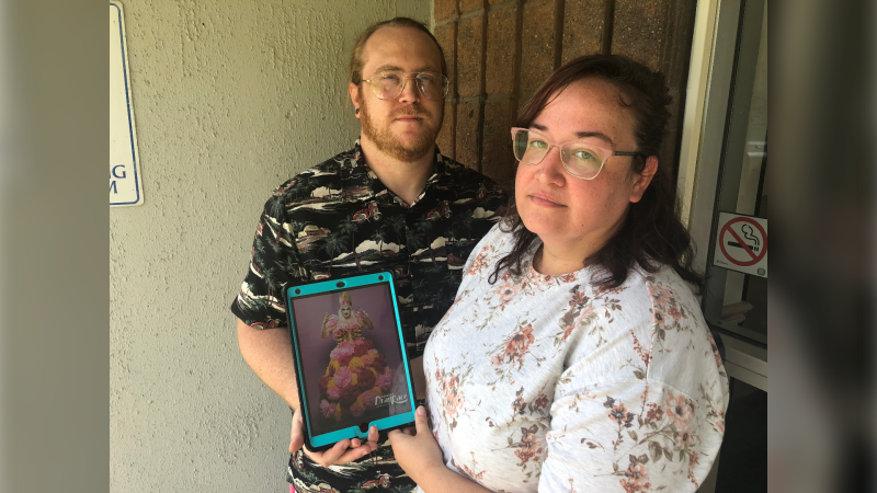Brittany Leroux and husband John Reh say their request for a cake with a photo of a drag queen was denied from a local ice cream shop in Windsor, Ont. on Sunday, June 13, 2021. (Alana Hadadean/CTV Windsor)