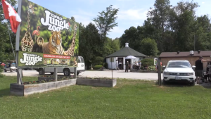 Elmvale Zoo sign at the front entrance in Elmvale, Ont. on June 13, 2021 as the attraction reopens (Luke Simard/CTV News)