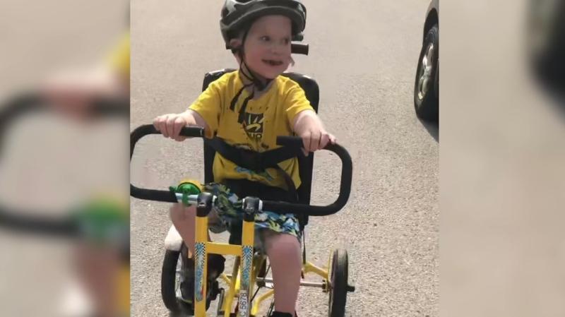 5-year-old Mathew Grushka on a 'freedom bike' (Jordyn Read / CTV News)