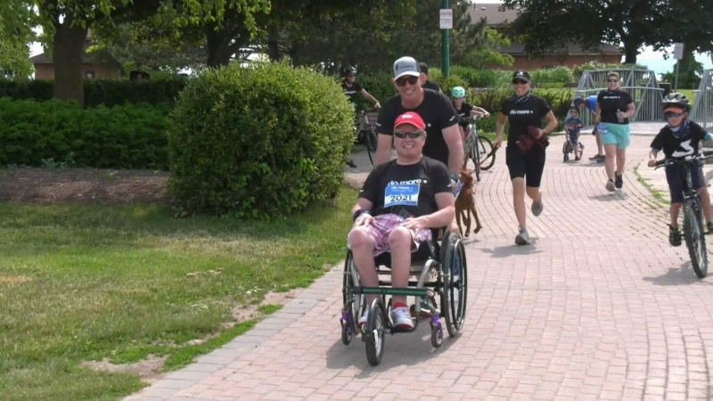 Peter Scully of BioPed Footcare and Kevin Collins of Easter Seals Ontario participate in the first Do More Virtual Walk & Run on June 13, 2021(Chris Garry/CTV News Barrie)