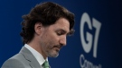 Prime Minister Justin Trudeau listens to question during a news conference at Tregenna Castle following the G7 Summit in St. Ives, Cornwall, England, on Sunday, June 13, 2021. THE CANADIAN PRESS/Adrian Wyld