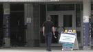 An Ottawa resident walks into a city community vaccination clinic on Sunday. (Colton Praill/CTV News Ottawa)