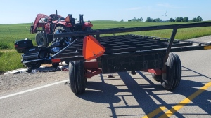 OPP investigate a fatal crash south of Carlow involving a motorcycle and farm tractor on Sunday  June 13, 2021 (Source: OPP West Region)
