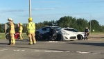 STARS was called to the scene of a crash involving a car and a motorcycle. Sunday June 13, 2021 (CTV News Edmonton)