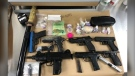Mounties in Surrey say they've seized more than 200 grams of fentanyl, several imitation firearms and a sword during recent traffic stops in the city. (Surrey RCMP)