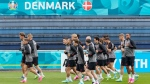 Players exercise at the training ground during a training session of Denmark's national team in Helsingor, Denmark, Monday, June 14, 2021. It is the first training of the Danish team since the Euro championship soccer match against Finland when Christian Eriksen collapsed last Saturday. (AP Photo/Martin Meissner)