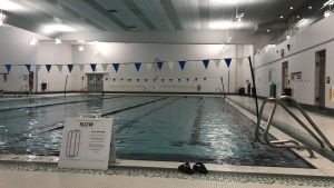 A pair of flip-flops on the pool deck at Sir Winston Churchill Aquatic and Recreation Centre on June 14 as the facility reopened to the public as part of Stage 2 of Alberta's reopening plan.
