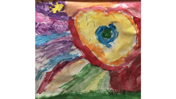 'The earth in a heart shaped galaxy, with a rainbow' - Savannah Sentongo, 4 years old, JK student at St Leonard's School in Manotick.