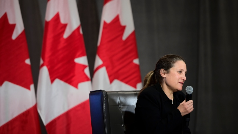 Deputy Prime Minister and Minister of Finance Chrystia Freeland and Prime Minister Justin Trudeau, not shown, participate in a virtual discussion from Ottawa on Monday, May 3, 2021, with residents from Shannex's Losier Hall in Miramichi, New Brunswick. Also virtually in attendance is Minister of Seniors Deb Schulte and Member of Parliament for Miramichi-Grand Lake Pat Finnigan. THE CANADIAN PRESS/Sean Kilpatrick