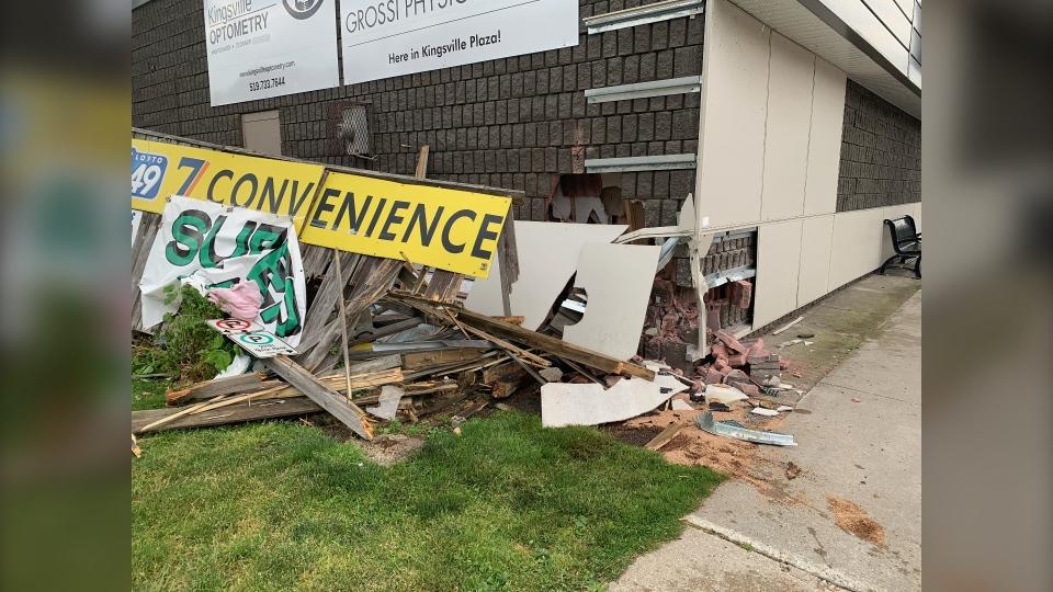 Vehicle strikes building in Kingsville.