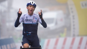 Michael Woods of team Israel Start-Up Nation at the 74th Tour de Romandie UCI ProTour cycling race, on May 1, 2021. (KEYSTONE / Jean-Christophe Bott)