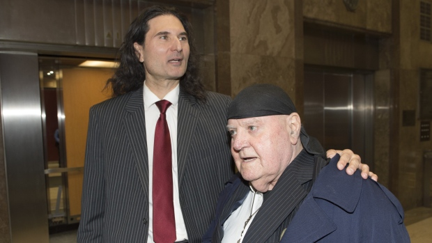 James Sears, left, and LeRoy St. Germaine leave court after being found guilty of promoting hate in Toronto on Thursday, Jan. 24, 2019. THE CANADIAN PRESS/Frank Gunn