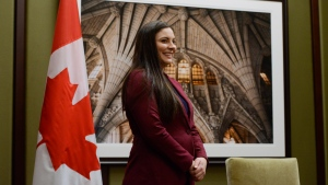 Jenica Atwin takes part in a swearing in ceremony as she is sworn in as the MP for Fredericton and the third member of the Green Party caucus in Canada's 43rd parliament on Parliament Hill in Ottawa on Tuesday, Nov. 26, 2019. THE CANADIAN PRESS/Sean Kilpatrick