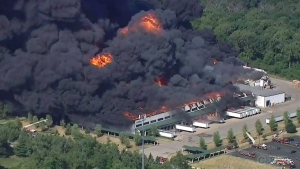 Huge plumes of smoke and fire seen at Ill. chemica