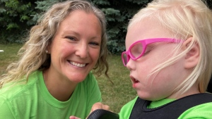 Thursday Natalie Ladly and her daughter Brynn will be walking 34km to raise awareness and money for a rare genetic disorder called CDKL5. (KC Colby/CTV)