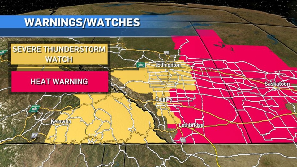 Alberta, June 14, thunderstorm watches, heat warn
