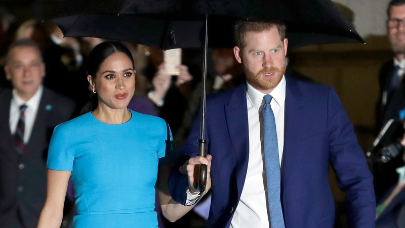 Prince Harry and Meghan, the Duke and Duchess of Sussex arrive at the annual Endeavour Fund Awards in London on March 5, 2020. (AP Photo/Kirsty Wigglesworth, File)