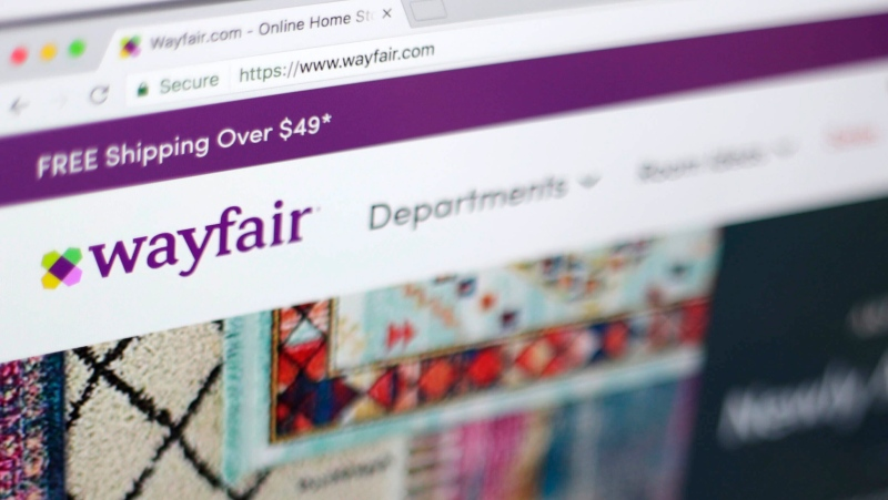 FILE- This April 17, 2018, file photo shows the Wayfair website on a computer in New York. (AP Photo/Jenny Kane, File)