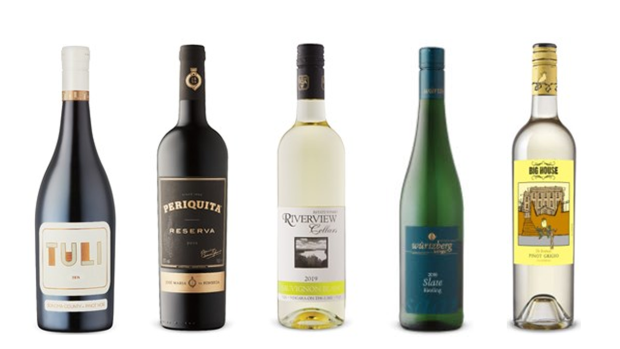 Tuli Pinot Noir 2016, Periquita Reserva 2015, Riverview Cellars Sauvignon Blanc 2019, Wuertzberg Slate Riesling 2016, Big House Winery The Birdman Pinot Grigio 2018