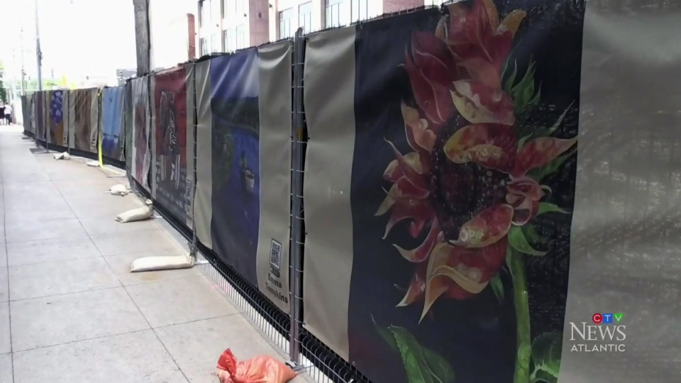 Construction site converted to outdoor gallery