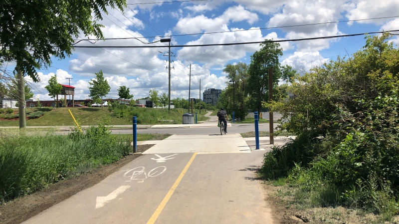 The Iron Horse Trail crossing at Glasgow Street. (Katherine Hill/CTV Kitchener)
