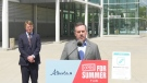 Premier Jason Kenney speaks to reporters about the Open For Summer Lottery on Monday. Kenney says COVID-19 will continue to be a healthcare issue for years to come.