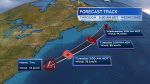 The forecast track for Tropical Depression Two as issued from the National Hurricane Center 6 p.m. Atlantic time on Monday evening.