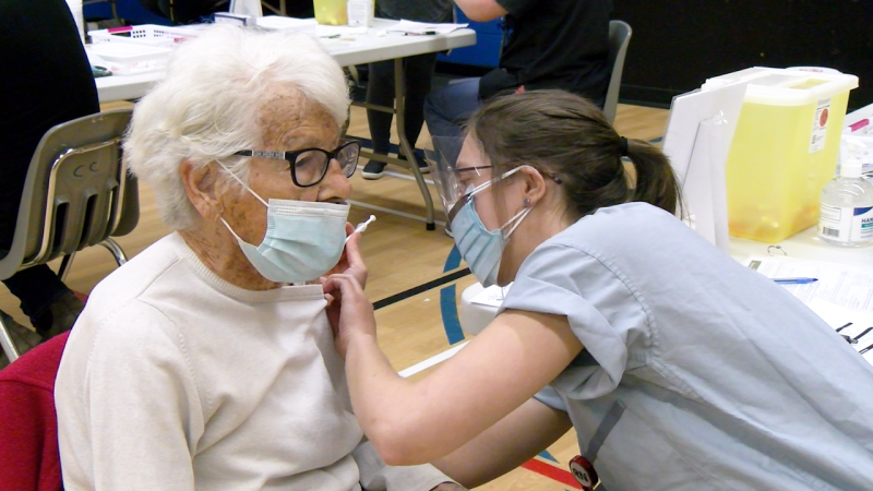 96-year-old Charlotte Rowse receives her second dose of the COVID-19 vaccines at the Jim Ciccone Civic Centre in Prince Rupert.