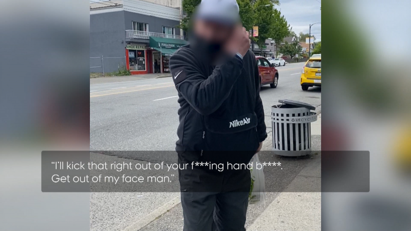 Shafira Vidyamaharani recorded video of a man who allegedly accosted her at a Vancouver bus stop on June 11, 2021. Police confirmed they are investigating the incident.