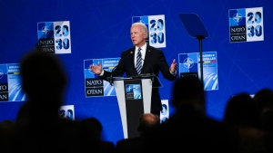 U.S. President Joe Biden speaks during a media conference at a NATO summit in Brussels, Monday, June 14, 2021. (AP Photo/Francisco Seco, Pool)