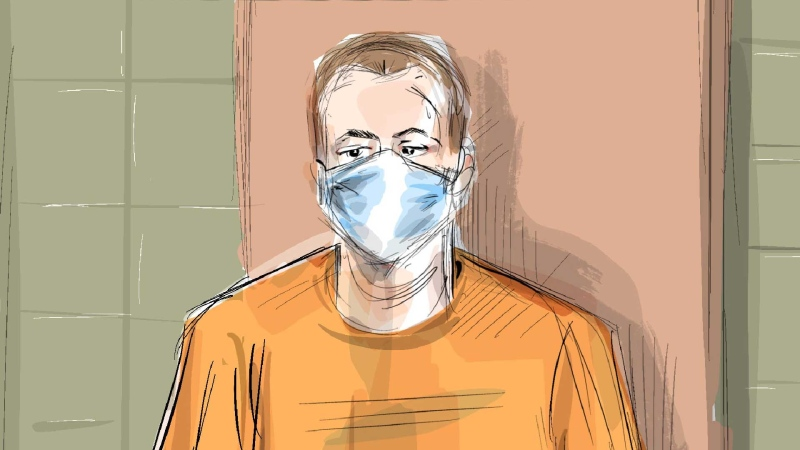 In this artist's sketch, Nathaniel Veltman makes a video court appearance in London, Ont., Thursday, June 10, 2021 as Justice of the Peace Robert Seneshen (top left) and lawyer Alayna Jay look on. Veltman, accused of deliberately running over and killing four members of a Muslim family in London, Ont., had his case adjourned to next week. THE CANADIAN PRESS/Alexandra Newbould