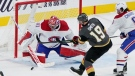 Montreal Canadiens goaltender Carey Price (31) blocks a shot by Vegas Golden Knights right wing Reilly Smith (19) during the first period in Game 1 of an NHL hockey Stanley Cup semifinal playoff series Monday, June 14, 2021, in Las Vegas. (AP Photo/John Locher)