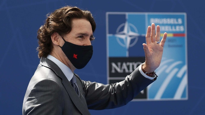 Prime Minister Justin Trudeau arrives for a NATO summit at NATO headquarters in Brussels, Monday, June 14, 2021. (Kenzo Tribouillard, Pool via AP)