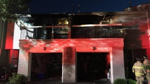 Two townhouses were heavily damaged by fire on Osgoode Drive on Tuesday, June 15, 2021. (LFD via Twitter)